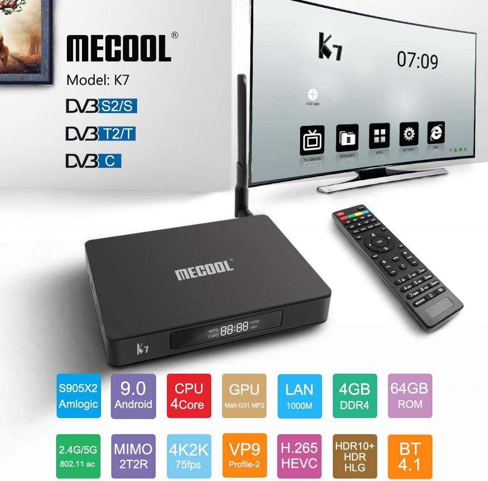 Alician Electronic for MECOOL K7 DVB-T2 / S2 / C Android 9.0 TV Box Amlogic S905X2 Quad Core 4K 2.4G 5G WiFi 1000Mbps Set Black U.S. regulations: Amazon.es: Electrónica