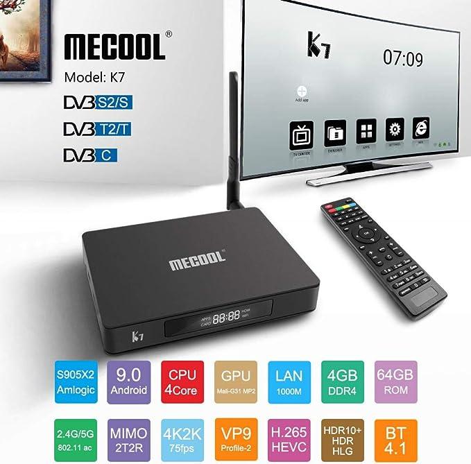 Alician Electronic for MECOOL K7 DVB-T2 / S2 / C Android 9.0 TV Box Amlogic S905X2 Quad Core 4K 2.4G 5G WiFi 1000Mbps Set Negro Regulaciones Europeas: Amazon.es: Electrónica