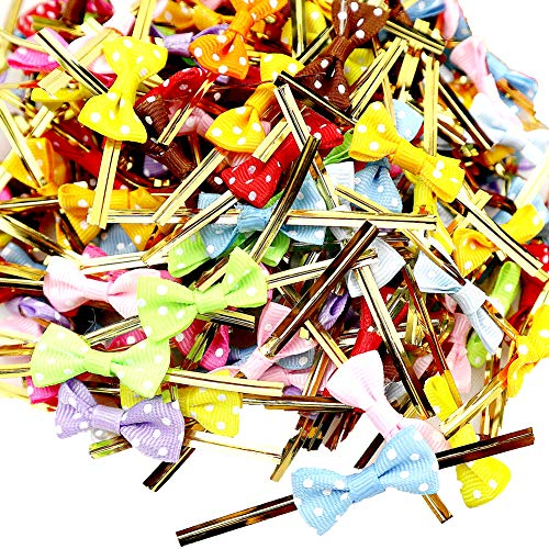 (LEFV Twist Tie Bows for Bakery Cookies Candies Dessert Popcorn Wedding Party Favors Cello Bag Wraping, Polka Dot, Assorted Colors, Grosgrain Ribbon (50)