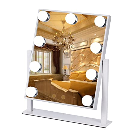 Mufly Large Vanity Mirror 9 Big LED Bulbs Lighted Makeup Mirror With 5×  Magnifier Cosmetic