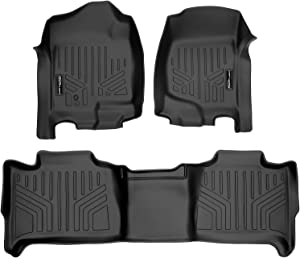 MAXLINER Floor Mats 2 Row Liner Set Black for 2007-2014 Tahoe/Suburban/Yukon/Yukon XL/Denali (No Hybrid Models)