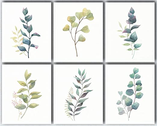 Amazon Com L O Goods Botanical Wall Art Prints Farmhouse Home Kitchen Decor Theme Set Of Six Posters Eucalyptus Leaves Decorations Artwork Pictures For Bedroom Dining Room Hallway