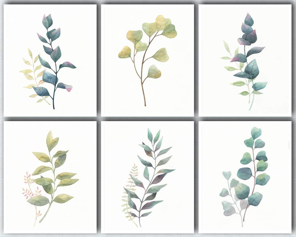 L & O Goods Botanical Wall Art Prints   Farmhouse, Home & Kitchen Decor   Theme Set of Six Posters Eucalyptus Leaves Decorations   Artwork Pictures for Bedroom, Dining Room, Hallway or Office   8 x 10