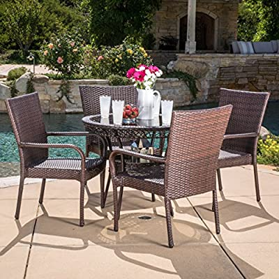 Christopher Knight Home Littletone 5 Piece Outdoor Wicker Dining Set | Perfect for Patio | in Multibrown - Includes: One (1) Table Four (4) Chairs Materials: Metal & Faux Wicker Table Dimensions: 28.70 inches high x 34.00inches wide x 34.00 inches length Chair Dimensions: 34.80 inches high x 25.00 inches wide x 25.50 inches deep Seat Width: 16.10 inches Seat Depth: 20.50 inches Seat Height: 19.60 inches - patio-furniture, dining-sets-patio-funiture, patio - 619waXFq3 L. SS400  -
