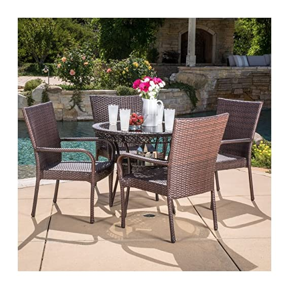 LITTLETON DINING SET by Christopher Knight Home - Includes: One (1) Table Four (4) Chairs Materials: Metal & Faux Wicker Table Dimensions: 28.70 inches high x 34.00inches wide x 34.00 inches length Chair Dimensions: 34.80 inches high x 25.00 inches wide x 25.50 inches deep Seat Width: 16.10 inches Seat Depth: 20.50 inches Seat Height: 19.60 inches - patio-furniture, dining-sets-patio-funiture, patio - 619waXFq3 L. SS570  -