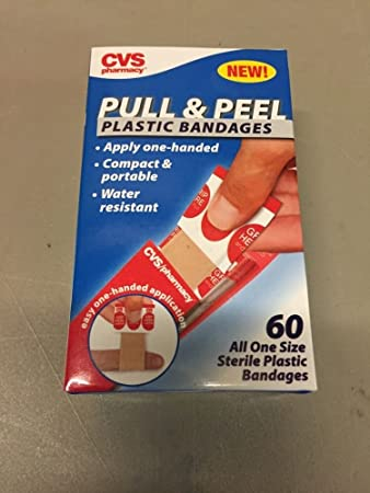 Amazoncom Cvs Pull Peel Plastic Bandages Apply One Handed Water
