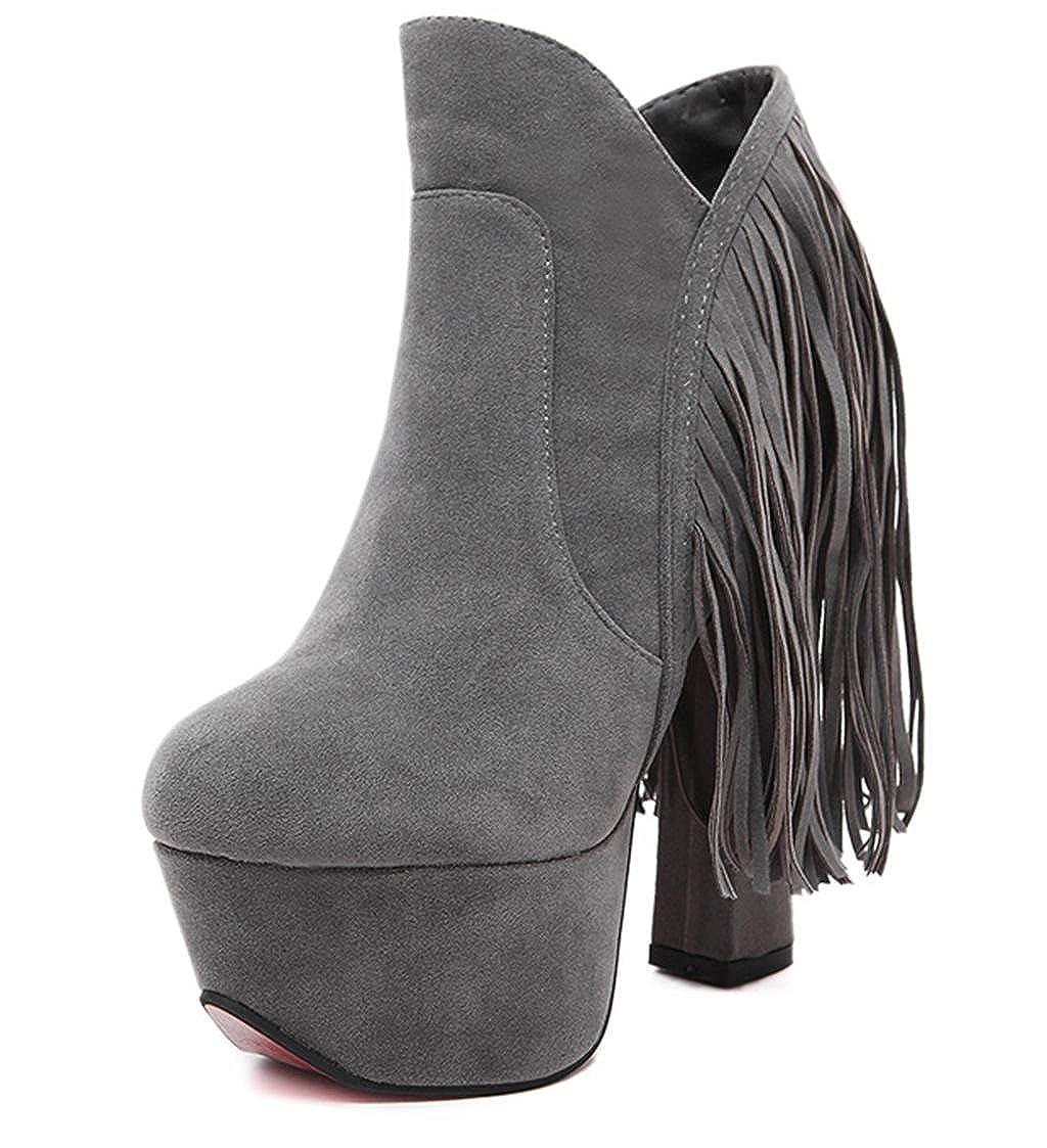 MNII Frauen High Heel Quaste Sexy Stiefeletten Western Heel Lace Up Plattform Kurze Stiefel- Modeschuhe