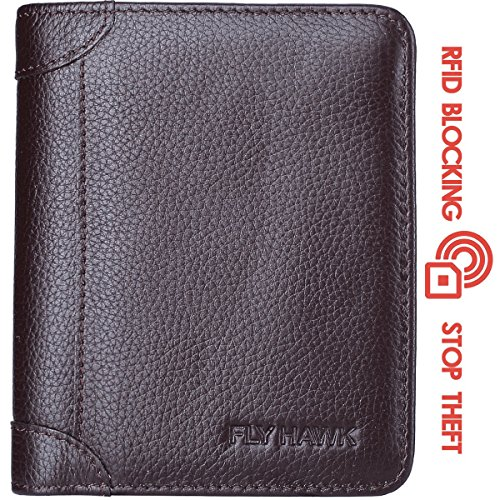 FlyHawk Best RFID Blocking Top Genuine Leather Wallets for Men (One Size, Brown (RFID BLOCKING)- Vertical Style) (Brown Vertical Leather)