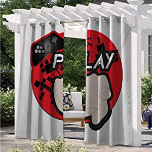 Print Curtains Gaming Illustration with Play Quote and Pointing Finger Abstract Squares Design Porch Decor Privacy Curtain for Pool Hut Pavilion Gazebo Sun Room Cream Black Red W84 x L84 Inch