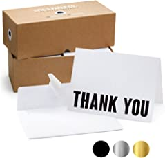 100 Letterpress Thank You Cards and Self Seal Envelopes. Perfect for Graduation, Business, Weddings - Opie's Paper Company (Black and White)