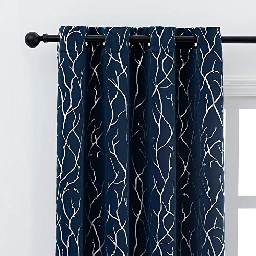 Kotile Silver Branch Navy Blackout Curtains for Living Room – Metallic Tree Twigs Pattern Printed Thermal Insulated Blackout Grommet Window Curtains for Bedroom, 52 x 84 Inch, 2 Panels,Navy and Silver