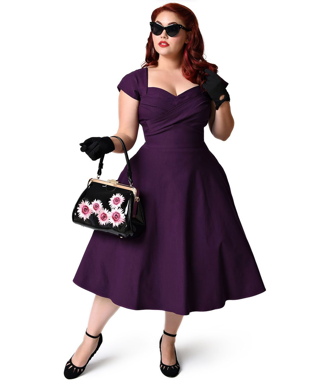 Stop Staring! Plus Size Mad Style Eggplant Cap Sleeve Swing Dress by Unique Vintage