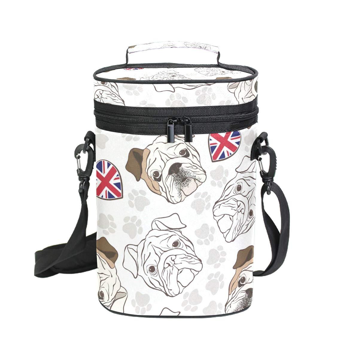 EZIOLY Sac de transport isotherme avec poignée et bandoulière Motif pattes de bouledogue anglais