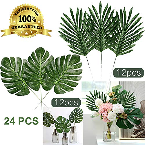 Artiflr 24 Pcs 2 Kinds Tropical Plant Palm Leaves Artificial Palm Leaves Faux Leaves Safari Leaves Hawaiian Luau Party Suppliers Decorations]()