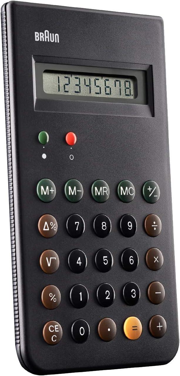 Braun BNE001BK Calcolatrice tascabile, Nero Nero