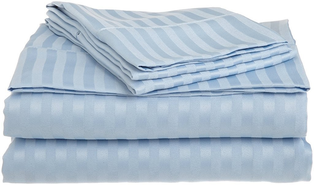 600 Thread Count Luxurious 100% Egyptian Cotton Set of 4 Pcs (1 Fitted sheet,1 Flat Sheet, 2 Pillows covers) by Rajlinen (Sage Stripe, Twin 39