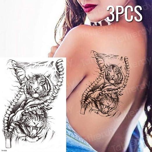Handaxian 3pcs Chino Tatuaje dragón Negro Bosquejo Tatuaje patrón ...