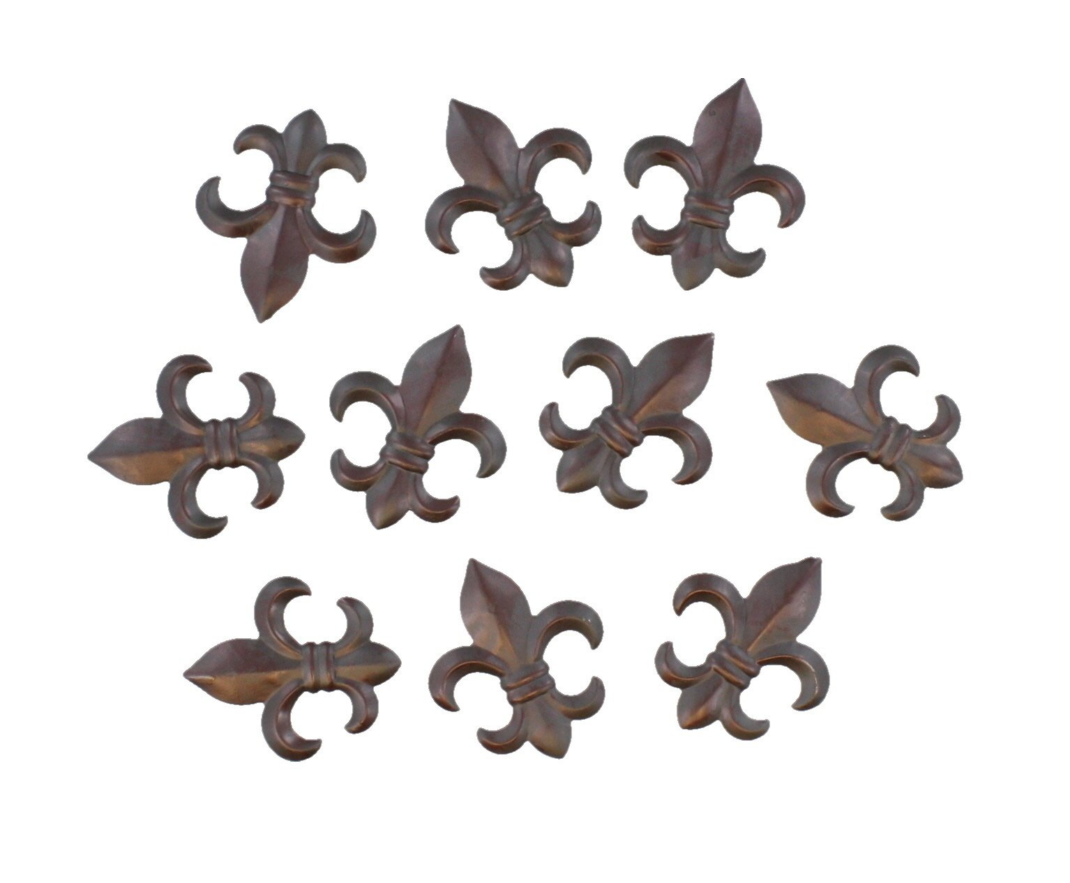 10 Pc Set - 3'' Small Rustic Metal Fleur De Lis Wall Plaques / Ornaments - Creole Tuscan Saints Decor