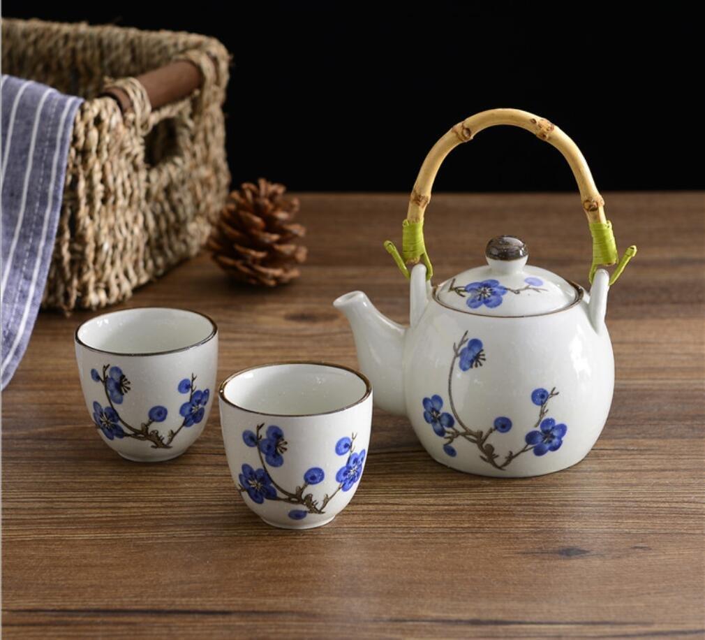 日本スタイルartificially-painted ( Underglaze ) Porcelain Teaセット ホワイト  プラムブロッサム(Plum Blossom) B06XB7ML9W