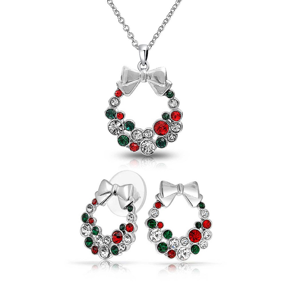 Bling Jewelry Rhodium Plated Crystal Wreath Necklace Stud Earrings Set FAJ-PD7080
