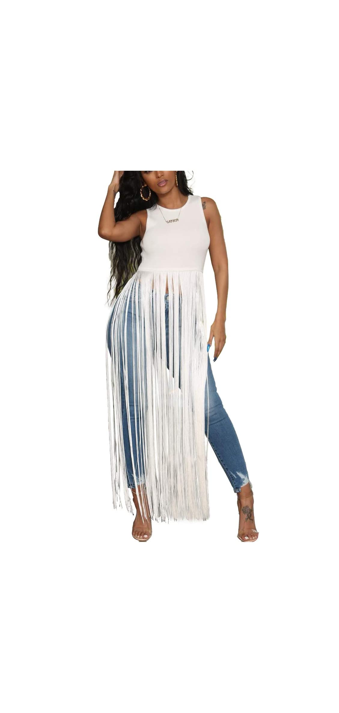 Women Sexy Sleeveless Top - Solid Color Long Fringe