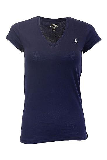 1c97eec7bfb Ralph Lauren - T-Shirt - Manches Courtes - Femme - Bleu - Large  Amazon.fr  Vêtements  et accessoires