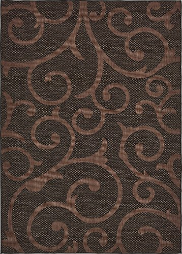 Unique Loom Outdoor Botanical Collection Abstract Swirls Transitional Indoor and Outdoor Flatweave Chocolate Brown  Area Rug (8' 0 x 11' 4) ()