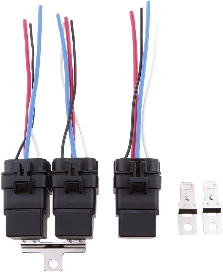 Colcolo 3 Juegos de Relé de Barco de Coche de 4 Pines SPST de 12 V con 4 Cables Y Toma de Arnés de 40 Amperios