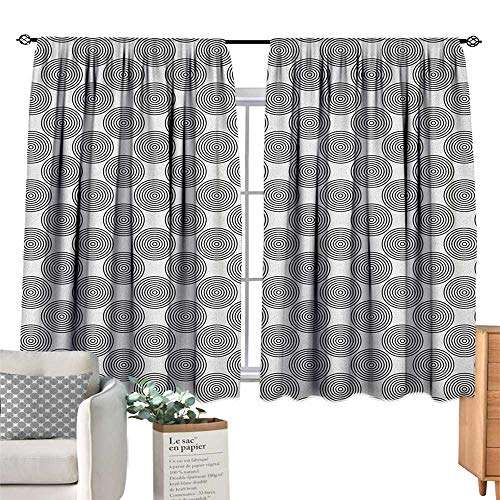 PriceTextile Geometric Circle,Indoor Curtain Vortex Spirals Polygonal Rotated Lines Artsy Trippy Chord Design Print Window Curtain for Living Room W55 x G39]()