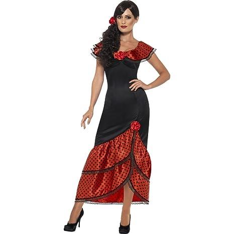 24b60381f7e1 Amakando Costume Spagnola Vestito Ballerina di Flamenco Carmen M 44 46  Travestimento iberico Donna Abito