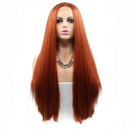 Peluca Yaki de color naranja oscuro y resistente al calor, peluca de pelo natural con