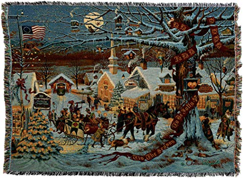 Pure Country Weavers - Town Christmas Woven Tapestry Throw Blanket with Fringe Cotton USA Size 72 x 54