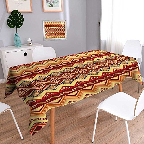 PRUNUSHOME Spillproof Fabric Tablecloth Hand drawn seamless