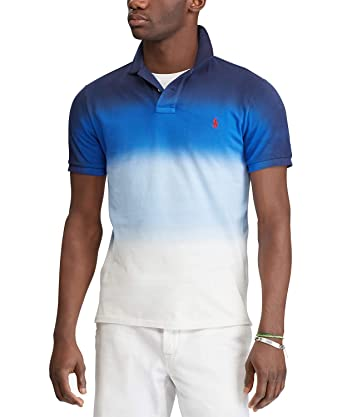 f34043ce Ralph Lauren Polo Men's Graduated Dip Dyed Classic Fit Cotton Mesh Polo  Shirt (Navy/