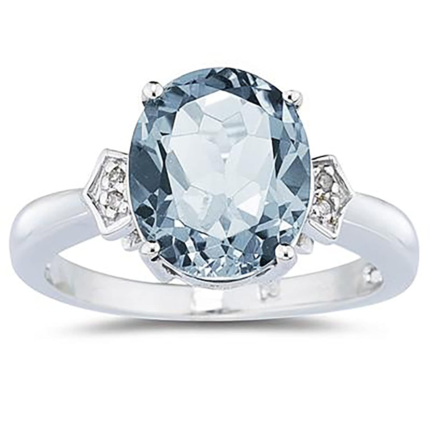 amazoncom aquamarine diamond ring in 10k white gold jewelry - Oval Wedding Rings