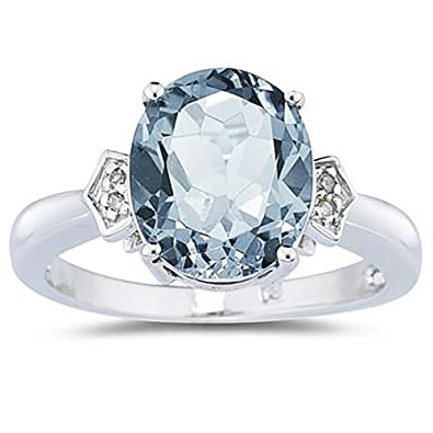 Amazon Aquamarine & Diamond Ring in 10K White Gold Jewelry