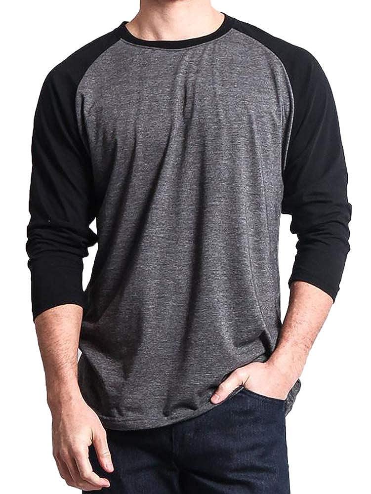 Enjoybuy Mens Long Sleeve Baseball T Shirt Raglan Regular Fit Casual Cotton Jersey Shirts Crewneck Sweatshirt