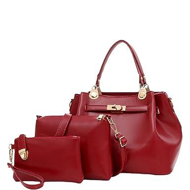 Europa Und Die Vereinigten Staaten Frauen Tasche Wasser Eimer Sub-Paket Transfer Sperre Dreiteilige Anzug Messenger Bag Schultertasche,Red-OneSize GKKXUE
