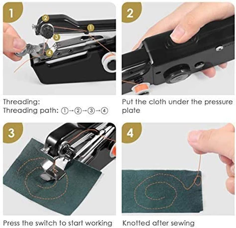 Handheld Sewing Machine Quick Handy Stitch for Home or Travel use Black Mini Portable Cordless Handheld Electric Sewing Machine with Thread Kit