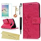 Galaxy S6 Wallet Case - Mavis's Diary Premium Leather with Fashion Floral Flip Cover for Samsung Galaxy S6 Non-Edge with Hand Strap & Dust Plug & Crystal Pen & Screen Protector - Hot Pink