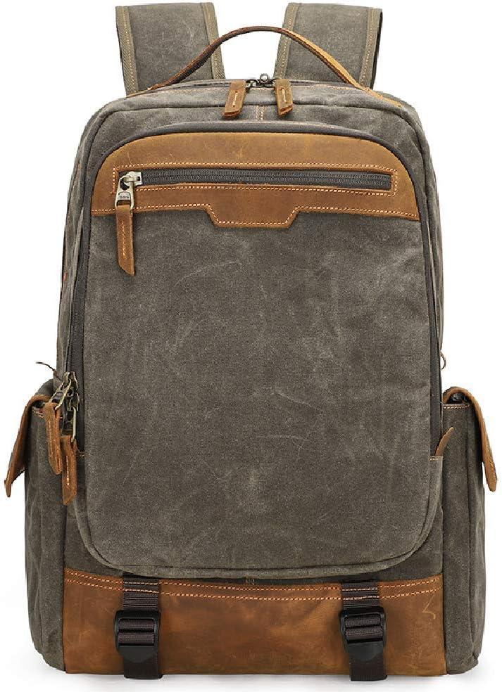 Mens Backpack Waterproof Batik Canvas Retro Fashion Digital Camera Backpack Double Shoulder Camera Bag SLR Camera Bag Color : Khaki