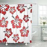 Emvency 66''x72'' Shower Curtain Waterproof Mildew Red Hawaiian Pretty Hibiscus Red Flower Hawaii Tropical Beach Aloha Funky Island Picture Print Polyester Fabric Adjustable Hook