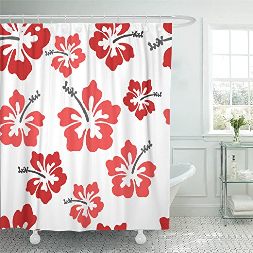 Emvency 66''x72'' Shower Curtain Waterproof Mildew Red Hawaiian Pretty Hibiscus Red Flower Hawaii Tropical Beach Aloha Funky Island Picture Print Polyester Fabric Adjustable Hook by Emvency