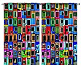 Mediterranean Village Decor Colorful Painted Windows Collage Burano Island Italy Venice European Tuscan Landscapes Interior Paints Bedroom Living Room Curtain 2 Panels Set, Red Blue Green Mustard For Sale