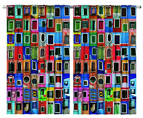 Mediterranean Village Decor Colorful Painted Windows Collage Burano Island Italy Venice European Tuscan Landscapes Interior Paints Bedroom Living Room Curtain 2 Panels Set, Red Blue Green Mustard
