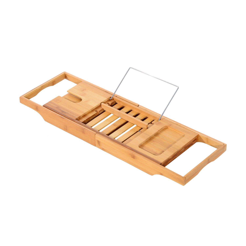 HOMCOM Adjustable Bamboo Bathtub Caddy