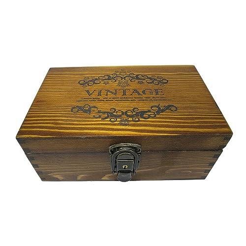 [Neustadt] アンティーク風 木目が オシャレな VINTAGE柄 カギ付き 木箱 収納ボックス 秘密の木箱