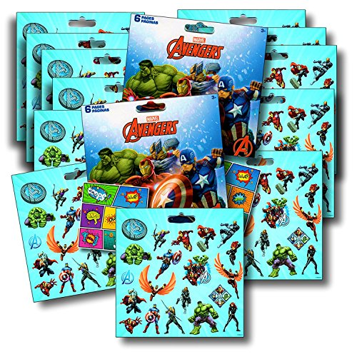 Marvel AVENGERS Stickers Party Favors - Bundle of 12 Sheets 240+ Stickers plus 2 Specialty (Hulk Party Favors)