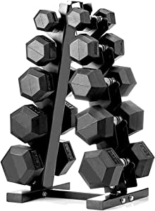 papababe Dumbbell Set with A-Frame Dumbbell Rack Rubber Encased Hex Dumbbell Free Weights Dumbbells Set Home Weight Set (A Pair of 5 10 15 20 25 LB Dumbbell with Dumbbell Rack)