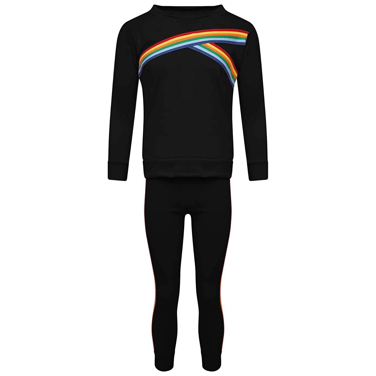 fashioncrazexx Boys Girls Black Rainbow Striped Tracksuit Children Loungewear Co Ord Lounge Set